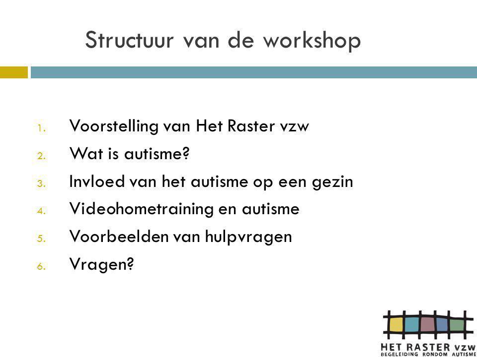 Het Raster vzw  Het Raster is één van de vier Vlaamse thuisbegeleidingsdiensten voor de doelgroep autisme  Erkend voor het begeleiden van gezinnen met een kind of jongere en voor volwassenen met een diagnose autisme door het VAPH  Hulpverleningsaanbod is uitgebreid: thuisbegeleiding, groepsbegeleidingen, kortbegeleiding, trajectbegeleiding, auti-maatje, zorgconsulentschap