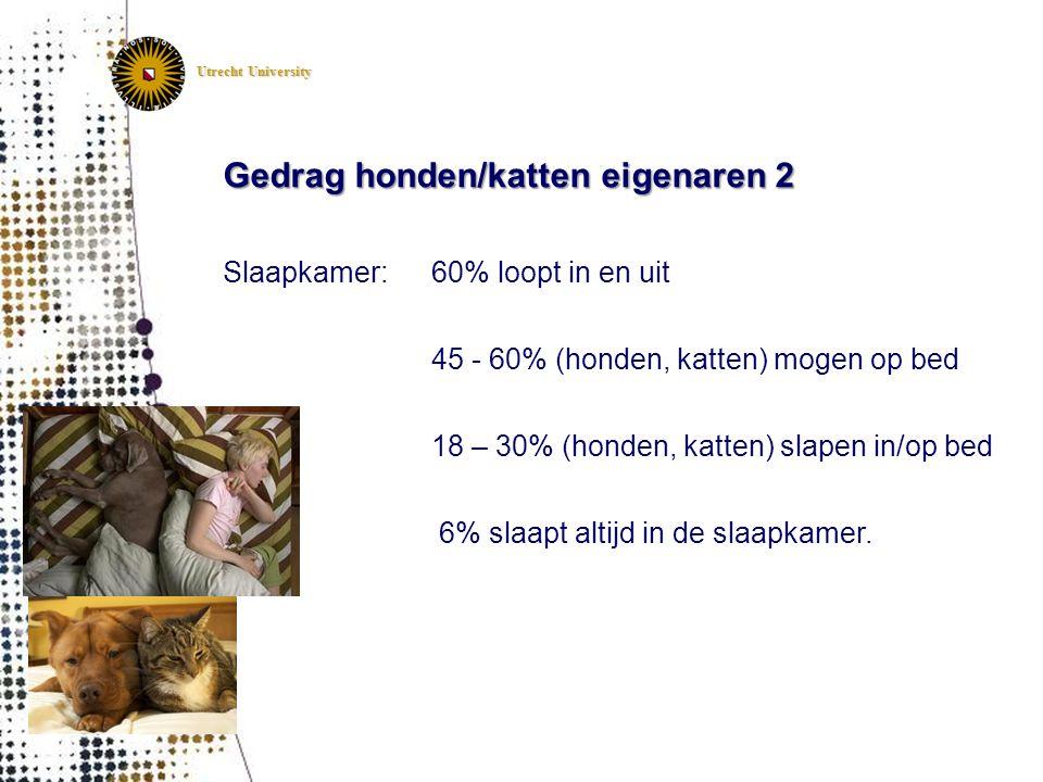 Utrecht University Gedrag honden/katten eigenaren 2 Slaapkamer:60% loopt in en uit 45 - 60% (honden, katten) mogen op bed 18 – 30% (honden, katten) sl