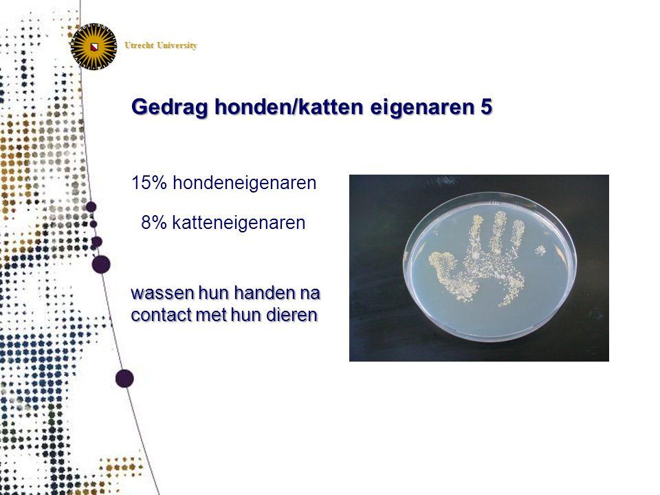 Utrecht University Gedrag honden/katten eigenaren 5 15% hondeneigenaren 8% katteneigenaren wassen hun handen na contact met hun dieren