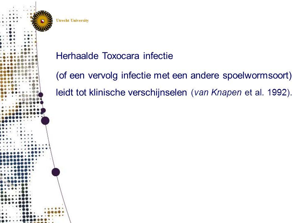 Utrecht University Herhaalde Toxocara infectie (of een vervolg infectie met een andere spoelwormsoort) leidt tot klinische verschijnselen (van Knapen
