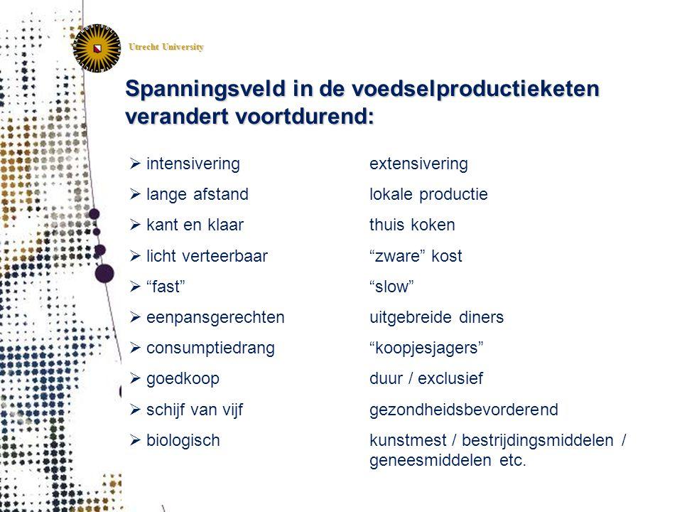 Utrecht University Spanningsveld in de voedselproductieketen verandert voortdurend:  intensivering  lange afstand  kant en klaar  licht verteerbaa