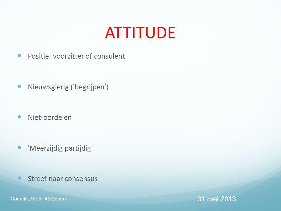  Positie: voorzitter of consulent  Nieuwsgierig ('begrijpen')  Niet-oordelen  'Meerzijdig partijdig'  Streef naar consensus ATTITUDE Cornelis, Mutter @ Oenen 31 mei 2013