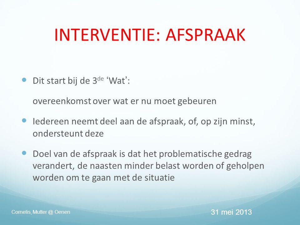  Dit start bij de 3 de 'Wat': overeenkomst over wat er nu moet gebeuren  Iedereen neemt deel aan de afspraak, of, op zijn minst, ondersteunt deze  Doel van de afspraak is dat het problematische gedrag verandert, de naasten minder belast worden of geholpen worden om te gaan met de situatie Cornelis, Mutter @ Oenen INTERVENTIE: AFSPRAAK 31 mei 2013