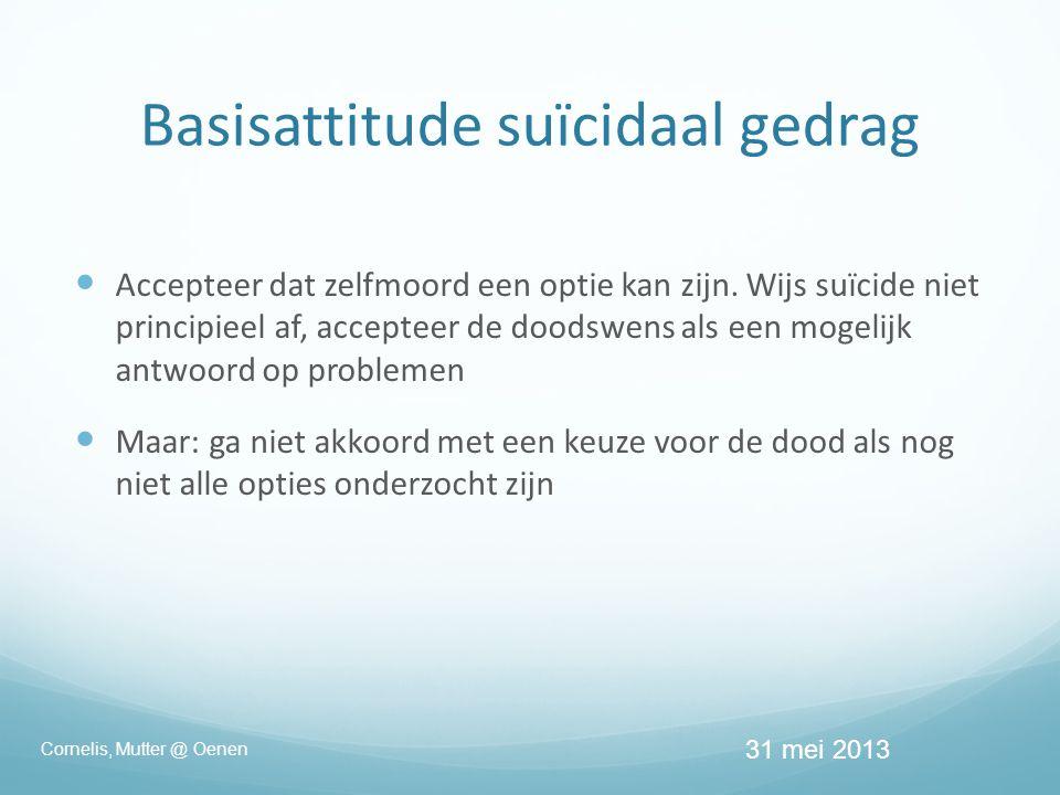 Basisattitude suïcidaal gedrag  Accepteer dat zelfmoord een optie kan zijn.
