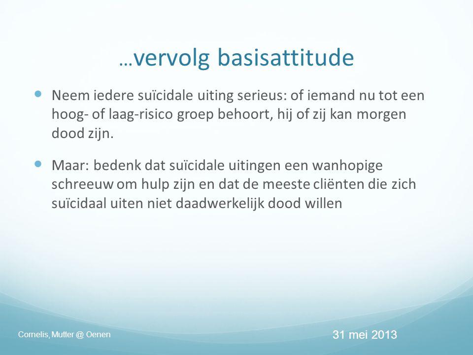 … vervolg basisattitude  Neem iedere suïcidale uiting serieus: of iemand nu tot een hoog- of laag-risico groep behoort, hij of zij kan morgen dood zijn.