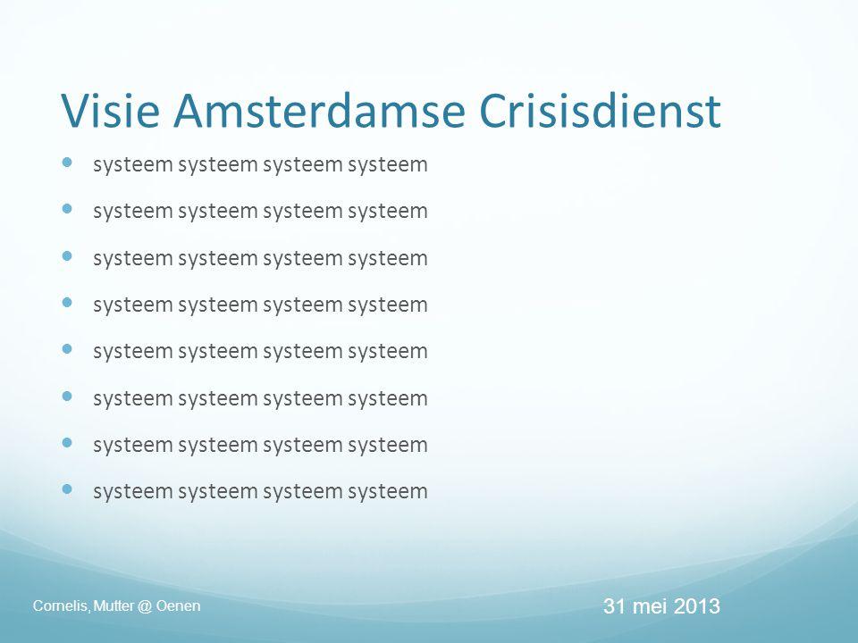 Visie Amsterdamse Crisisdienst  systeem systeem systeem systeem 31 mei 2013 Cornelis, Mutter @ Oenen