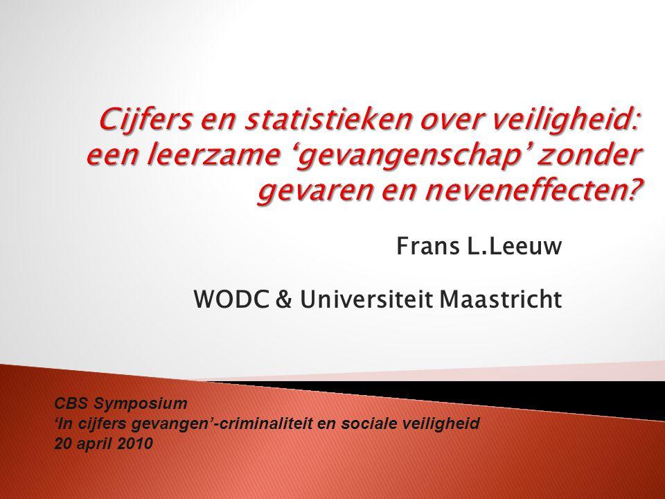 Frans L.Leeuw WODC & Universiteit Maastricht CBS Symposium 'In cijfers gevangen'-criminaliteit en sociale veiligheid 20 april 2010