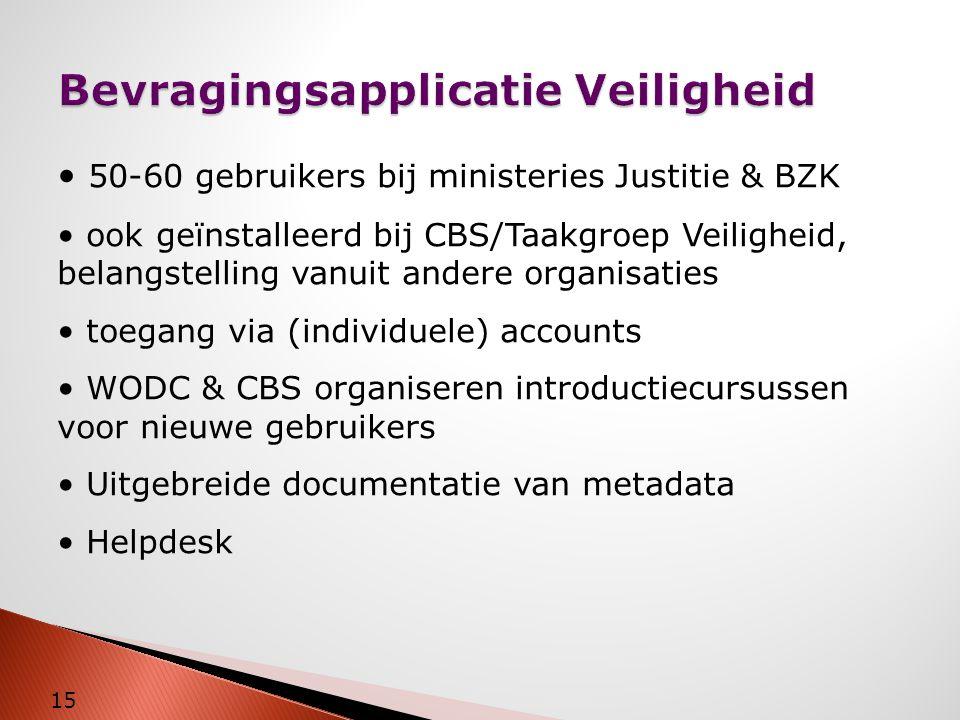 Bevragingsapplicatie Veiligheid 15 • 50-60 gebruikers bij ministeries Justitie & BZK • ook geïnstalleerd bij CBS/Taakgroep Veiligheid, belangstelling