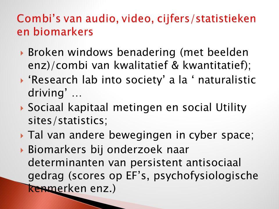  Broken windows benadering (met beelden enz)/combi van kwalitatief & kwantitatief);  'Research lab into society' a la ' naturalistic driving' …  So