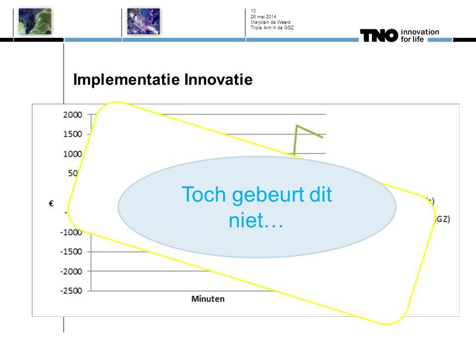 Implementatie Innovatie Blended Care in de GGZ 26 mei 2014 Marjolein de Weerd Triple Aim in de GGZ 10 Toch gebeurt dit niet…