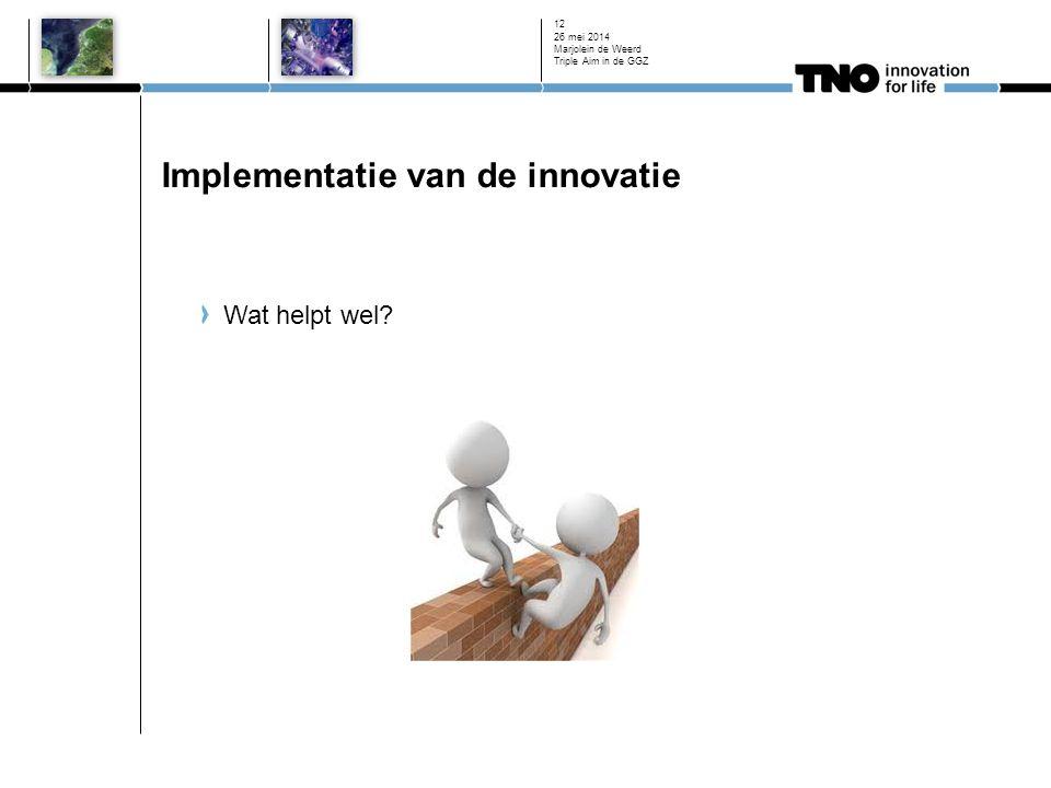Implementatie van de innovatie Wat helpt wel? 26 mei 2014 Marjolein de Weerd Triple Aim in de GGZ 12
