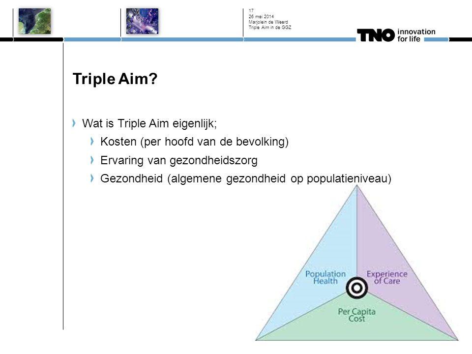 Triple Aim? Wat is Triple Aim eigenlijk; Kosten (per hoofd van de bevolking) Ervaring van gezondheidszorg Gezondheid (algemene gezondheid op populatie