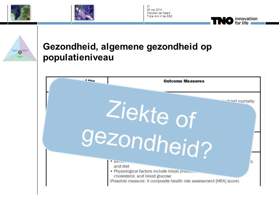 Gezondheid, algemene gezondheid op populatieniveau 26 mei 2014 Marjolein de Weerd Triple Aim in de GGZ 21 Ziekte of gezondheid?