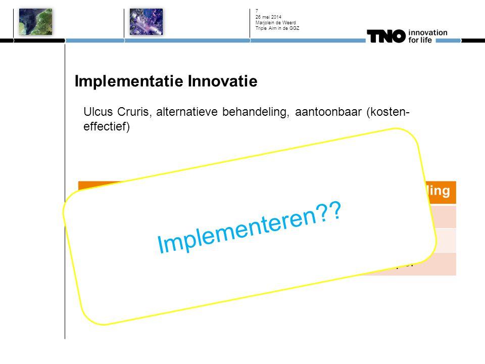 Implementatie Innovatie 26 mei 2014 Marjolein de Weerd Triple Aim in de GGZ 7 Ulcus Cruris, alternatieve behandeling, aantoonbaar (kosten- effectief)