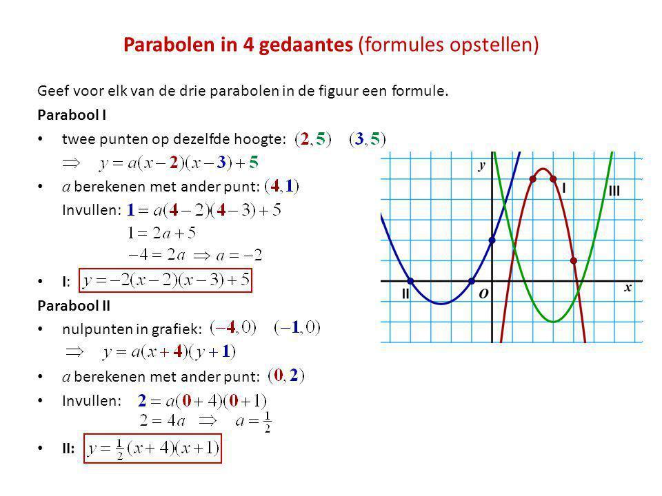 Parabolen in 4 gedaantes (formules opstellen) Geef voor elk van de drie parabolen in de figuur een formule. Parabool I • twee punten op dezelfde hoogt