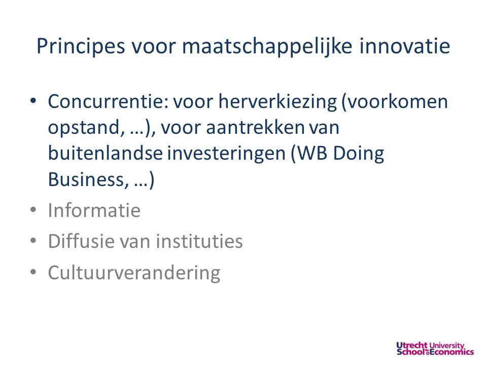 Principes voor maatschappelijke innovatie • Concurrentie: voor herverkiezing (voorkomen opstand, …), voor aantrekken van buitenlandse investeringen (WB Doing Business, …) • Informatie • Diffusie van instituties • Cultuurverandering