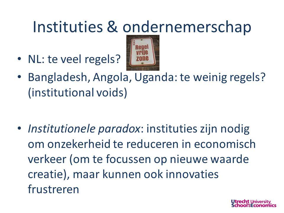 Instituties & ondernemerschap • NL: te veel regels.