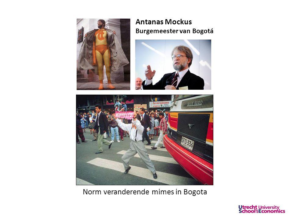 Antanas Mockus Burgemeester van Bogotá Norm veranderende mimes in Bogota