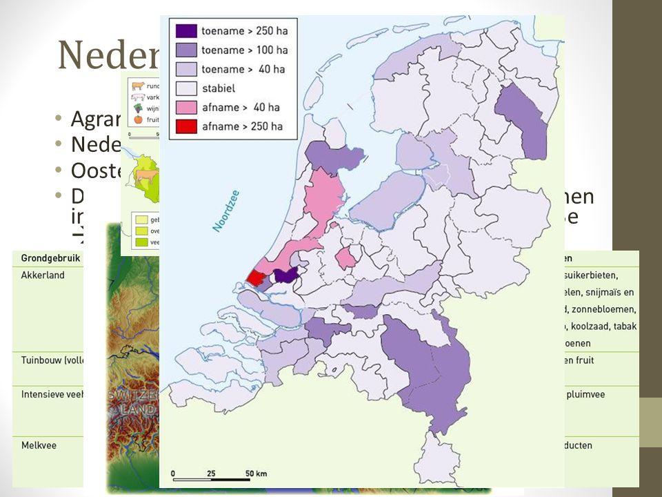 Nederland vs Oostenrijk • Agrarisch grondgebruik (gegevens bosatlas): • Nederland: ~ 57% van het Opp. • Oostenrijk: ~ 41% van het Opp. • De meeste vor