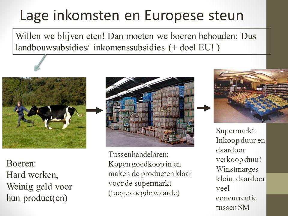 Boeren: Hard werken, Weinig geld voor hun product(en) Tussenhandelaren; Kopen goedkoop in en maken de producten klaar voor de supermarkt (toegevoegde