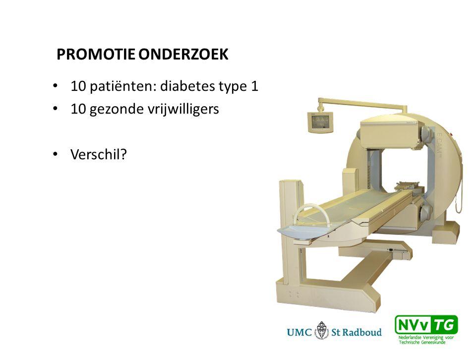 PROMOTIE ONDERZOEK • 10 patiënten: diabetes type 1 • 10 gezonde vrijwilligers • Verschil?