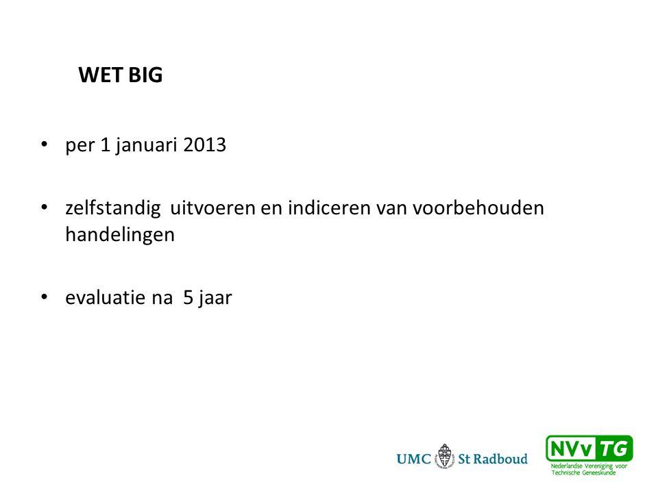 WET BIG • per 1 januari 2013 • zelfstandig uitvoeren en indiceren van voorbehouden handelingen • evaluatie na 5 jaar