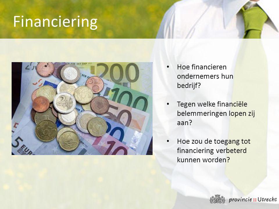 • Hoe financieren ondernemers hun bedrijf? • Tegen welke financiële belemmeringen lopen zij aan? • Hoe zou de toegang tot financiering verbeterd kunne