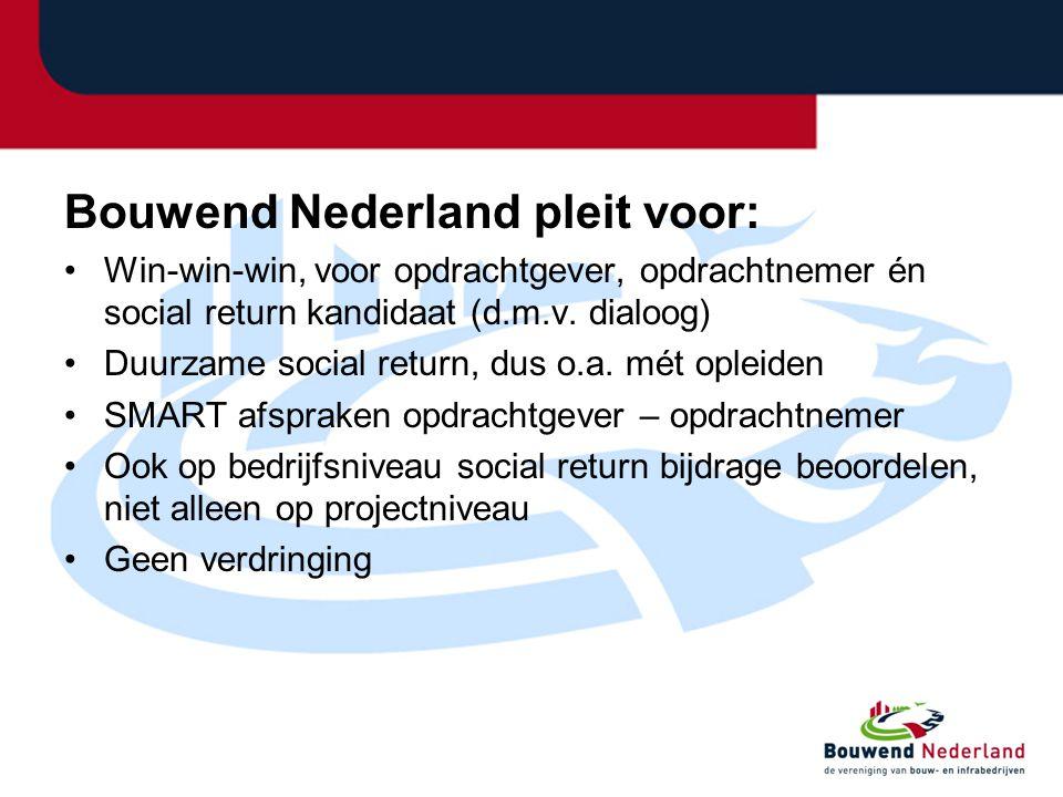 Bouwend Nederland pleit voor: •Win-win-win, voor opdrachtgever, opdrachtnemer én social return kandidaat (d.m.v. dialoog) •Duurzame social return, dus