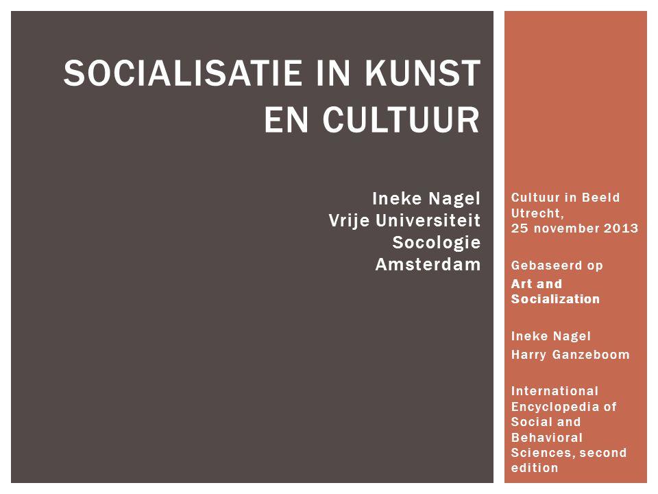 Cultuur in Beeld Utrecht, 25 november 2013 Gebaseerd op Art and Socialization Ineke Nagel Harry Ganzeboom International Encyclopedia of Social and Beh