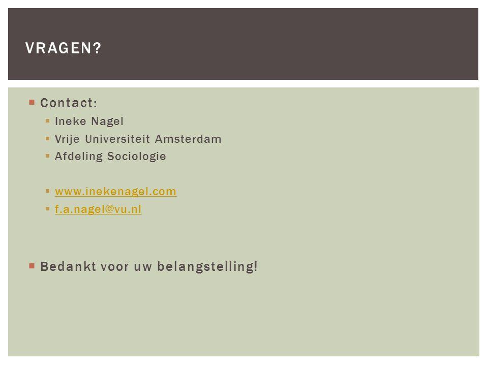  Contact:  Ineke Nagel  Vrije Universiteit Amsterdam  Afdeling Sociologie  www.inekenagel.com www.inekenagel.com  f.a.nagel@vu.nl f.a.nagel@vu.n
