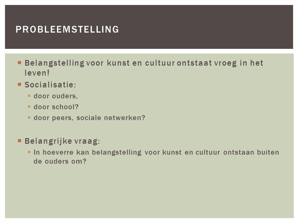 Belangstelling voor kunst en cultuur ontstaat vroeg in het leven!  Socialisatie:  door ouders,  door school?  door peers, sociale netwerken?  B