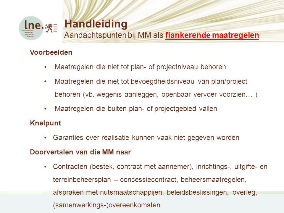 Handleiding Aandachtspunten bij MM als flankerende maatregelen Voorbeelden •Maatregelen die niet tot plan- of projectniveau behoren •Maatregelen die n
