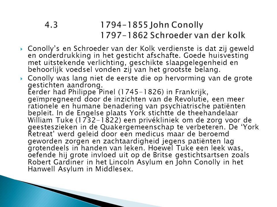  Conolly's en Schroeder van der Kolk verdienste is dat zij geweld en onderdrukking in het gesticht afschafte. Goede huisvesting met uitstekende verli