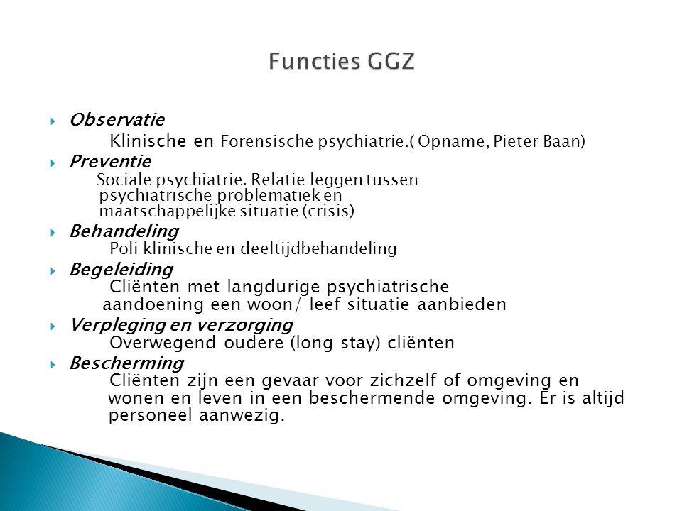  Observatie Klinische en Forensische psychiatrie.( Opname, Pieter Baan)  Preventie Sociale psychiatrie. Relatie leggen tussen psychiatrische problem