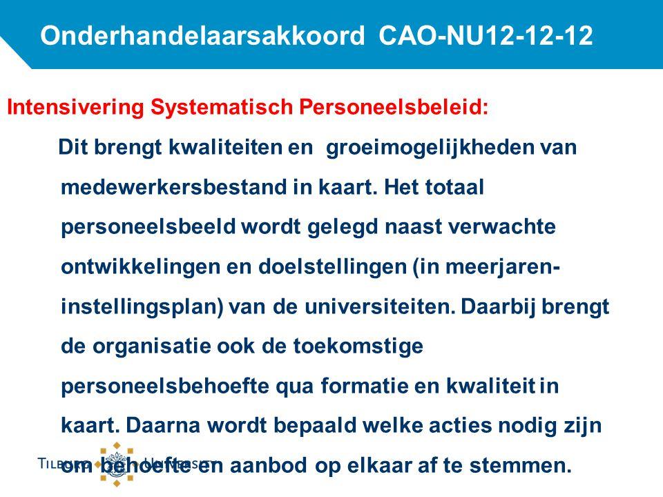 Onderhandelaarsakkoord CAO-NU12-12-12 Intensivering Systematisch Personeelsbeleid: Dit brengt kwaliteiten en groeimogelijkheden van medewerkersbestand in kaart.