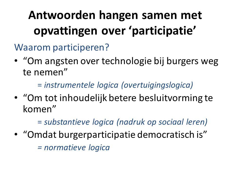 """Antwoorden hangen samen met opvattingen over 'participatie' Waarom participeren? • """"Om angsten over technologie bij burgers weg te nemen"""" = instrument"""