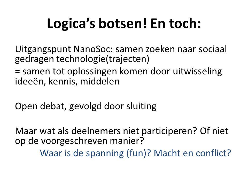 Logica's botsen! En toch: Uitgangspunt NanoSoc: samen zoeken naar sociaal gedragen technologie(trajecten) = samen tot oplossingen komen door uitwissel