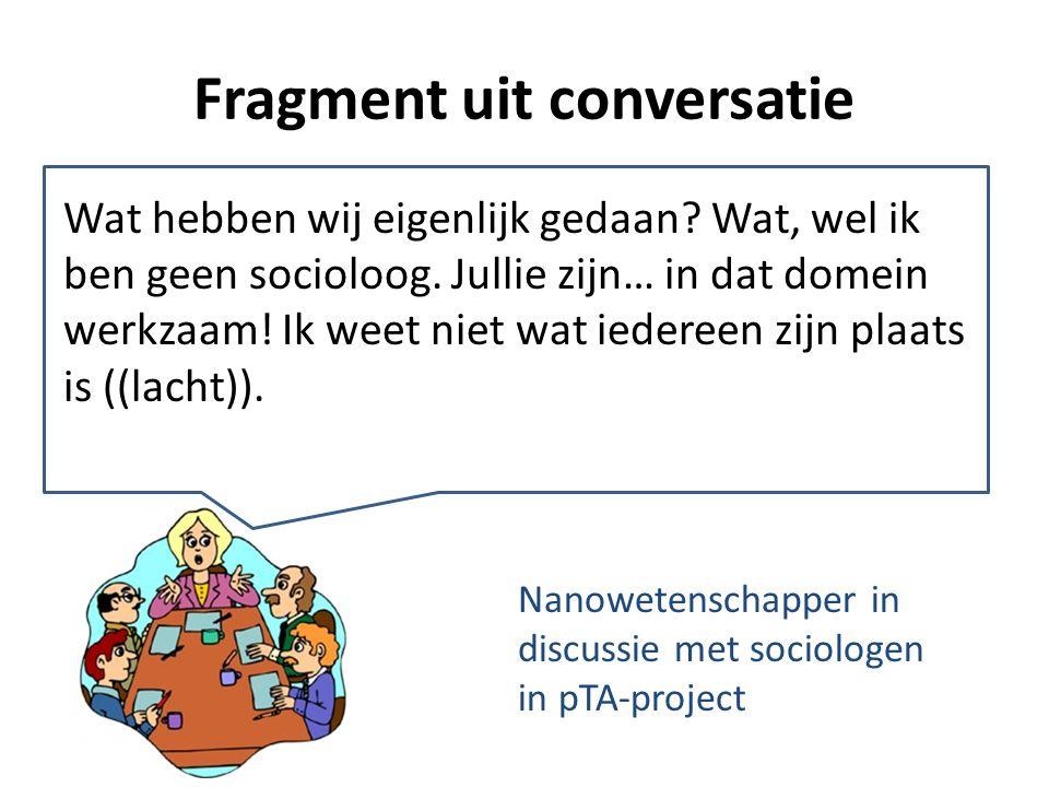 'participatie', 'technologie' en 'assessment' inzet van betekenisonderhandeling Nanotechnoloog: Ik ben geen socioloog – ik begrijp het project / de taakverdeling niet – ik heb de competenties niet om… – ik delegeer mijn taken / verantwoordelijkheden liever aan anderen – ik vind dit project niet relevant voor mij – ik vraag me af wat ik hier doe – ik vind het de taak van de sociologen om… –…–… implicaties voor proces + uitkomsten