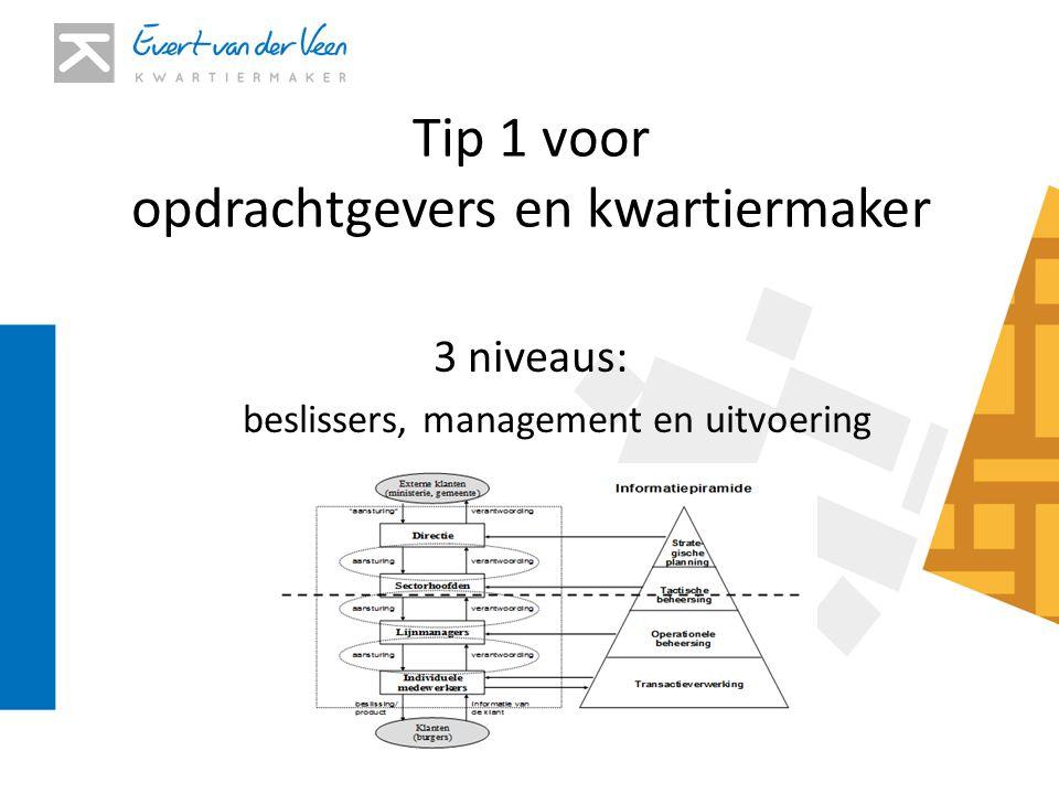 Tip 1 voor opdrachtgevers en kwartiermaker 3 niveaus: beslissers, management en uitvoering