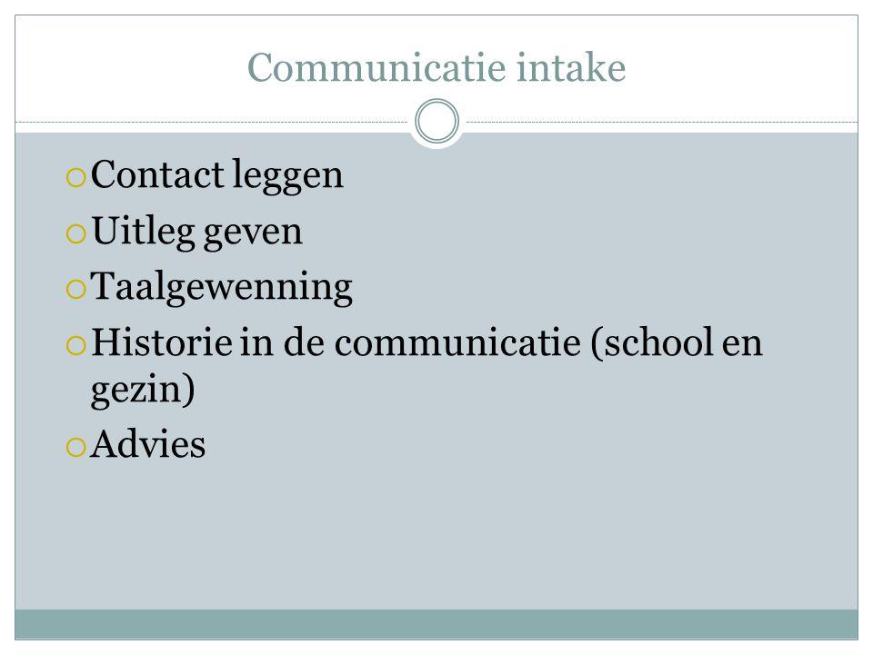 Communicatie intake  Contact leggen  Uitleg geven  Taalgewenning  Historie in de communicatie (school en gezin)  Advies
