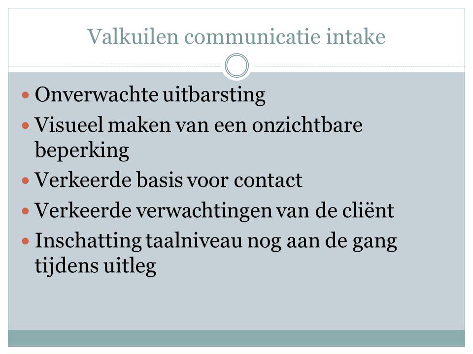Valkuilen communicatie intake  Onverwachte uitbarsting  Visueel maken van een onzichtbare beperking  Verkeerde basis voor contact  Verkeerde verwa