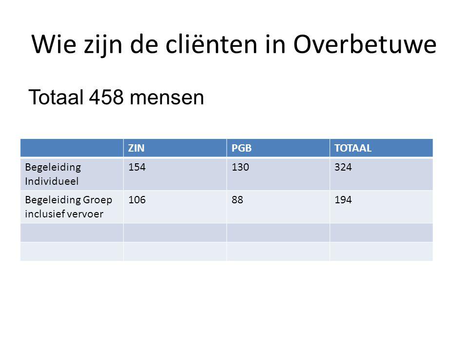 Wie zijn de cliënten in Overbetuwe Totaal 458 mensen ZINPGBTOTAAL Begeleiding Individueel 154130324 Begeleiding Groep inclusief vervoer 10688194