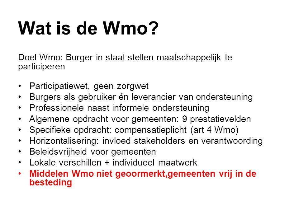 Wat is de Wmo? Doel Wmo: Burger in staat stellen maatschappelijk te participeren •Participatiewet, geen zorgwet •Burgers als gebruiker én leverancier