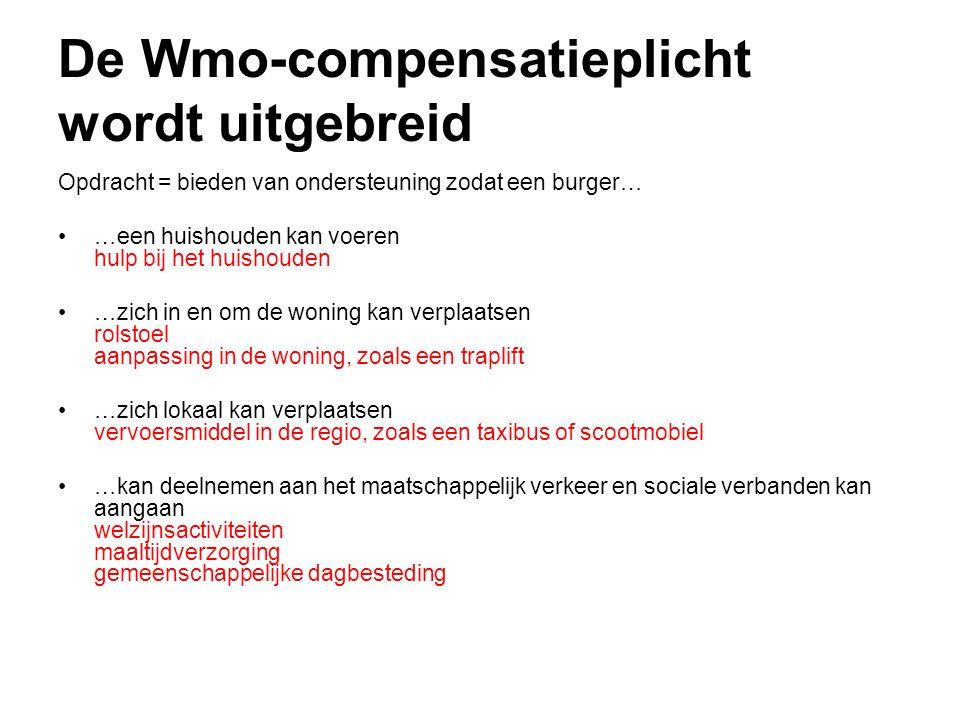 De Wmo-compensatieplicht wordt uitgebreid Opdracht = bieden van ondersteuning zodat een burger… •…een huishouden kan voeren hulp bij het huishouden •…