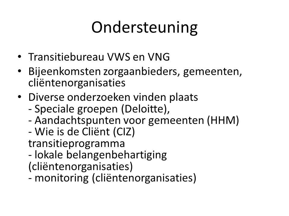 Ondersteuning • Transitiebureau VWS en VNG • Bijeenkomsten zorgaanbieders, gemeenten, cliëntenorganisaties • Diverse onderzoeken vinden plaats - Speciale groepen (Deloitte), - Aandachtspunten voor gemeenten (HHM) - Wie is de Cliënt (CIZ) transitieprogramma - lokale belangenbehartiging (cliëntenorganisaties) - monitoring (cliëntenorganisaties)