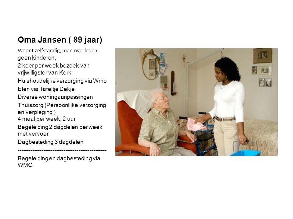 Oma Jansen ( 89 jaar) Woont zelfstandig, man overleden, geen kinderen, 2 keer per week bezoek van vrijwilligster van Kerk Huishoudelijke verzorging via Wmo Eten via Tafeltje Dekje Diverse woningaanpassingen Thuiszorg (Persoonlijke verzorging en verpleging ) 4 maal per week, 2 uur Begeleiding 2 dagdelen per week met vervoer Dagbesteding 3 dagdelen ------------------------------------------------ Begeleiding en dagbesteding via WMO