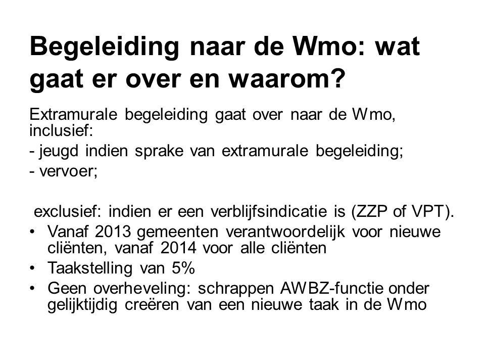 Begeleiding naar de Wmo: wat gaat er over en waarom? Extramurale begeleiding gaat over naar de Wmo, inclusief: - jeugd indien sprake van extramurale b