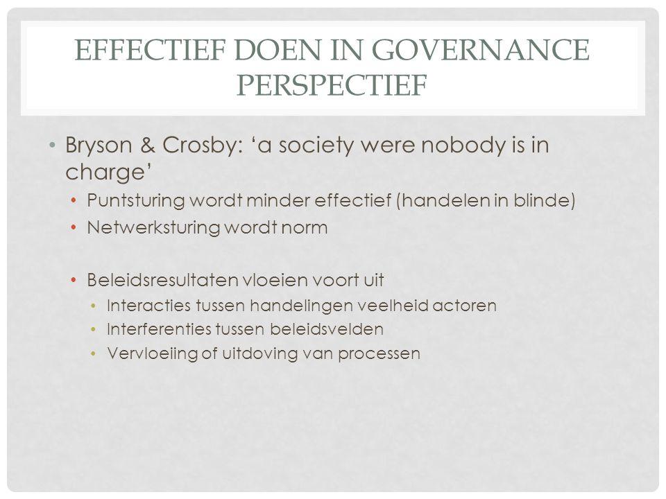 EFFECTIEF DOEN IN GOVERNANCE PERSPECTIEF • Bryson & Crosby: 'a society were nobody is in charge' • Puntsturing wordt minder effectief (handelen in bli