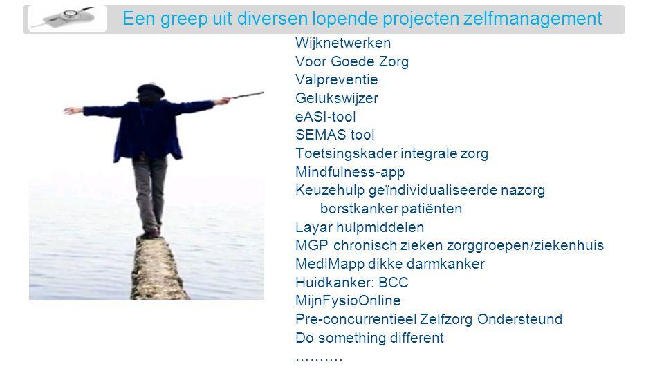 Een greep uit diversen lopende projecten zelfmanagement Wijknetwerken Voor Goede Zorg Valpreventie Gelukswijzer eASI-tool SEMAS tool Toetsingskader in