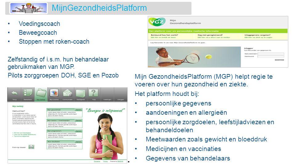 Mijn GezondheidsPlatform (MGP) helpt regie te voeren over hun gezondheid en ziekte. Het platform houdt bij: •persoonlijke gegevens •aandoeningen en al